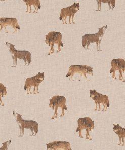 linnenlook printstof wolven gordijnstof decoratiestof 1-104530-1761-180