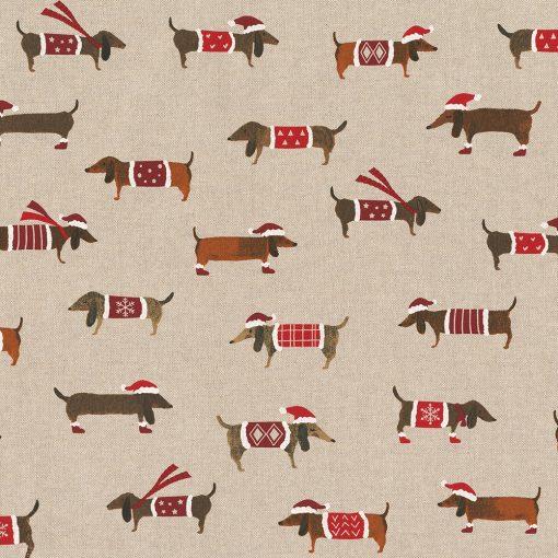 linnenlook kerststof 045 stof met teckels decoratiestof gordijnstof Kerststoffen kopen 07299-356 , 1-104530-1770-325