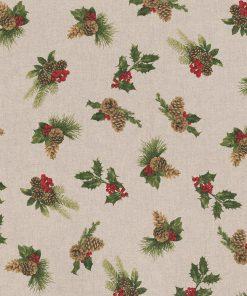 linnenlook kerststof 049 stof met kerstgroen decoratiestof gordijnstof printstof 1-104530-1774-540