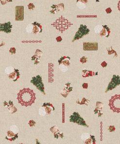 linnenlook kerststof printstof decoratiestof gordijnstof Kerststoffen kopen 1-104530-1775-325