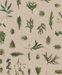linnenlook Mistletoe stof met wintergroen decoratiestof 1-104530-1777-530