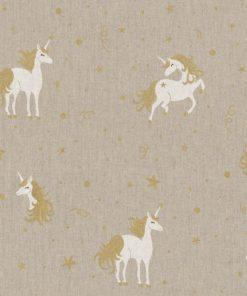 linnenlook Unicorn Star stof met eenhoorns decoratiestof 1.104530.1847.706