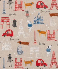 Linnenlook Love Paris stof met Parijs decoratiestof printstof gordijnstof decoratiestof Frankrijk 1-104530-1879-320