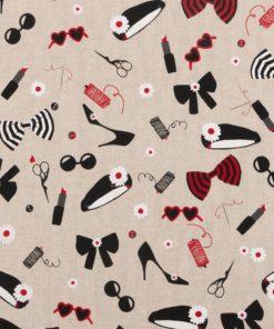 Linnenlook Fashion stof met modeaccessoires decoratiestof printstof gordijnstof decoratiestof mode Frankrijk 1-104530-1882-650