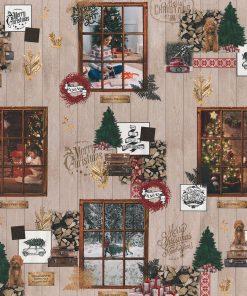 digitale katoenen decoratiestof printstof kerststof gordijnstof Kerststoffen kopen 1-151030-1350-110