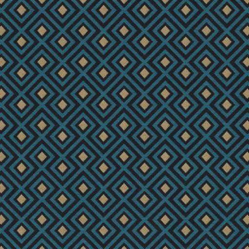jacquardstof Be Linked Turquoisegordijnstof meubelstof decoratiestof stof met kubussen 1-201531-1019-495