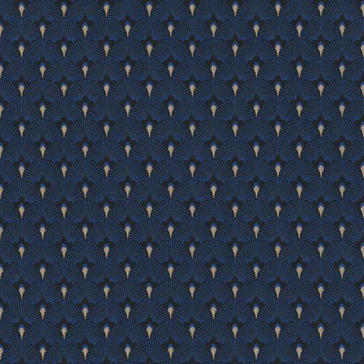jacquardstof be Cool Cobalt gordijnstof meubelstof decoratiestof stof met waaiers 1-201531-1021-465