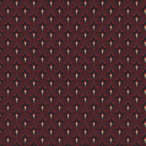 jacquardstof Cool Red meubelstof gordijnstof decoratiestof stof met waaiers1-201531-1023-325