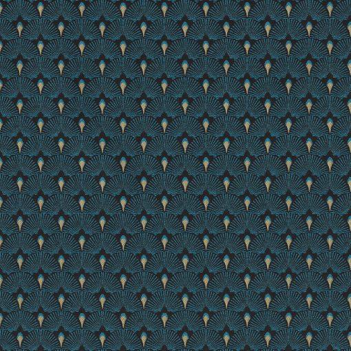 jacquardstof Cool Turquoise gordijnstof meubelstof decoratiestof stof met waaiers1-201531-1024-495