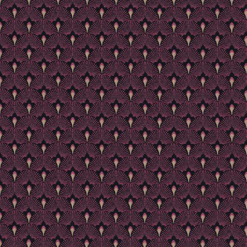 jacquardstof Be Cool Fuchsia gordijnstof meubelstof decoratiestof stof met waaiers 1-201531-1025-385