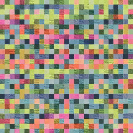 jacquardstof Neon Blokjes gordijnstof decoratiestof meubelstof jacquard stof met blokjes 1.202530.1112.655