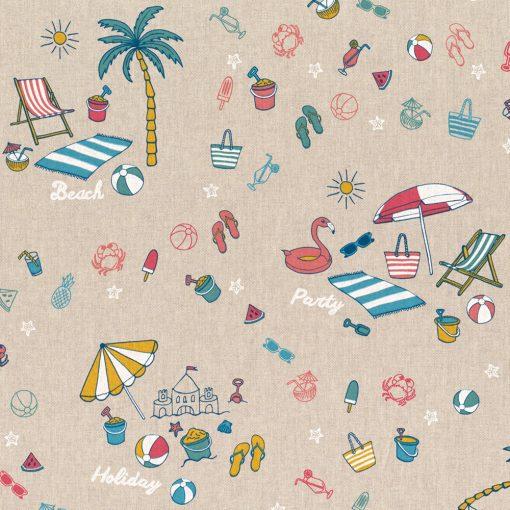 linnenlook stof met strand decoratiestof gordijnstof printstof 1.104530.1782.655