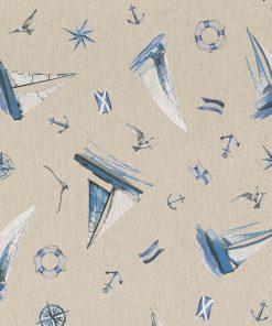 linnenlook stof met zeilboten printstof gordijnstof decoratiestof 1.104530.1784.460