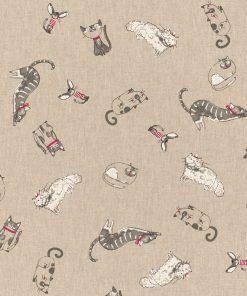 linnenlook Comic Cats stof met katten decoratiestof 1.104530.1785.575