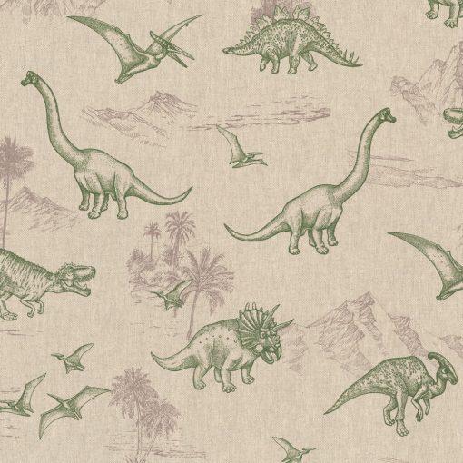 linnenlook Dino World stof met dino's decoratiestof 1.104530.1787.540