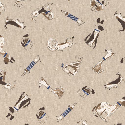 linnenlook Comic Dogs stof met honden decoratiestof 1.104530.1788.195