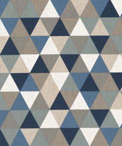 linnenlook triangle blue stof met driehoeken gordijnstof decoratiestof 1.104530.1796.460