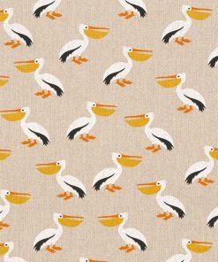 linnenlook Pelican Party stof met pelikanen decoratiestof 1.104530.1801.650