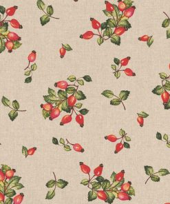 linnenlook Rosehip stof met rozenbottels decoratiestof 1.104530.1803.325