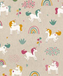 linnenlook Happy Unicorn stof met eenhoorn decoratiestof 1.104530.1810.655