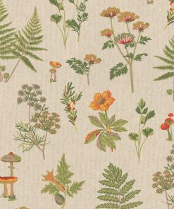 linnenlook Autumn stof met paddestoelen decoratiestof 1.104530.1814.535