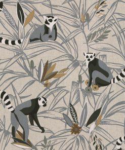 linnenlook Maki Grey stof met maki's decoreatiestof1.104530.1815.575