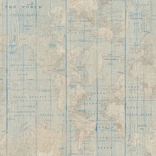 linnenlook World Ocean stof met wereldkaart decoratiestof 1.104530.1816.450