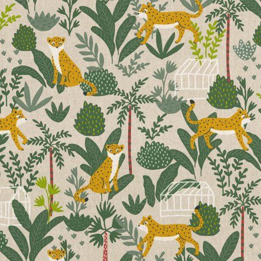 linnenlook Leopard Nature stof met luipaard decoratiestof 1.104530.1823.525