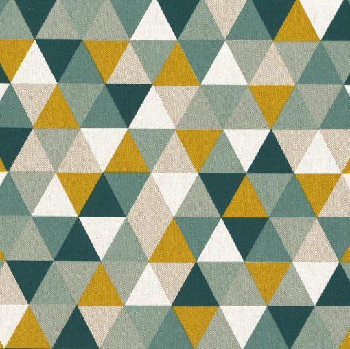 linnenlook Triangle Green stof met driehoeken gordijnstof decoratiestof 1.104530.1827.525