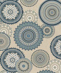 linnenlook Mandala Blue stof met mandala gordijnstof decoratiestof 1.104530.1833.460