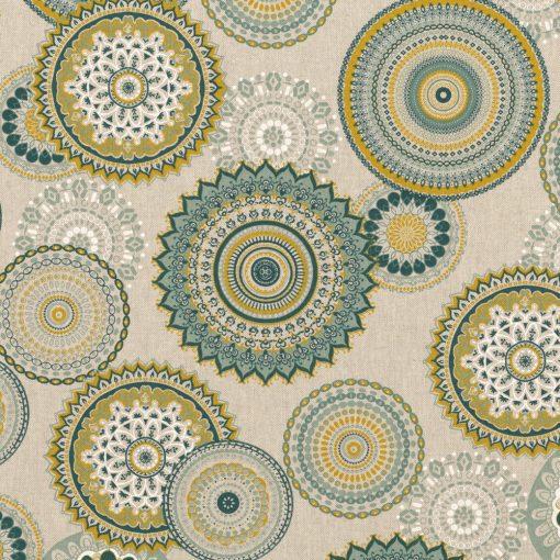 linnenlook Mandala Green stof met mandala gordijnstof decoratiestof 1.104530.1834.525