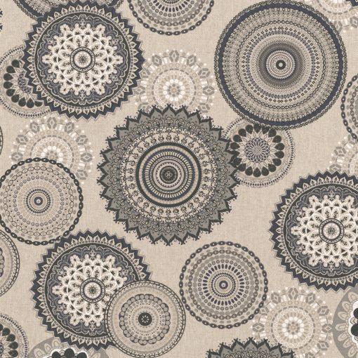 linnenlook Mandala Grey stof met mandala gordijnstof decoratiestof 1.104530.1835.650
