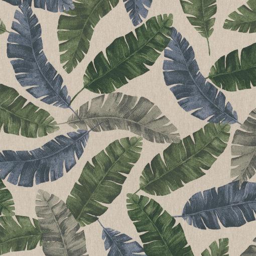 linnenlook Banana Multico stof met bladeren decoratiestof gordijnstof meubelstof printstof stof met bladeren, 1.104530.1848.535