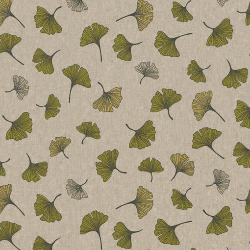 linnenlook stof motief 261 decoratiestof gordijnstof meubelstof printstof stof met ginkgo, 1.104530.1849.515