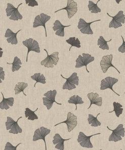 linnenlook Ginkgo Grey stof met blaadjes decoratiestof gordijnstof meubelstof printstof stof met ginkgo, 1.104530.1850.575