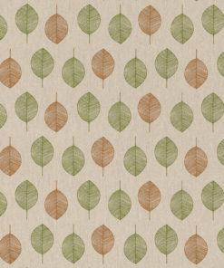 linnenlook Scandi Brown stof met blaadjes decoratiestof gordijnstof meubelstof printstof stof met bladeren, 1.104530.1851.535