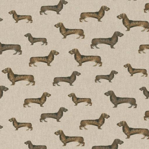 linnenlook Stubborn Teckels stof met teckels decoratiestof gordijnstof meubelstof printstof tekkelstof, 1.104530.1853.170