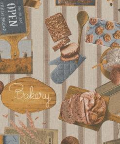 linnenlook Bakery stof met brood decoratiestof gordijnstof meubelstof printstof stof met brood, 1.104530.1856.165