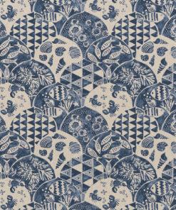 linnenlook Nautic Art stof met vissen grafische printstof stof motief 269 decoratiestof gordijnstof meubelstof printstof stof met fantasiemotief, 1.104530.1863.475