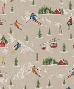 linnenlook stof motief 269 decoratiestof gordijnstof meubelstof printstof stof met skiërs, 1.104530.1864.655
