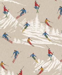 linnenlook stof motief 271 decoratiestof gordijnstof meubelstof printstof stof met skiërs, 1.104530.1865.655