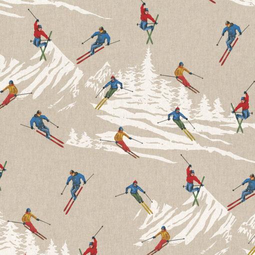 linnenlook printstof 271 decoratiestof gordijnstof meubelstof printstof stof met skiërs, 1.104530.1865.655
