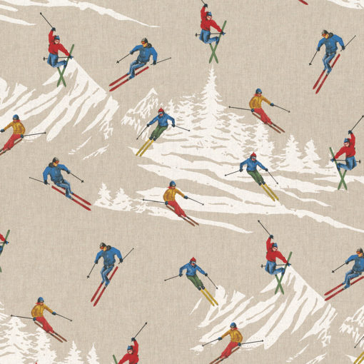 linnenlook Enjoy Skiing stof met skiërs printstof 271 decoratiestof gordijnstof meubelstof printstof stof met skiërs, 1.104530.1865.655