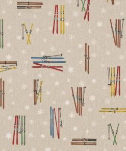 linnenlook stof motief 272 decoratiestof gordijnstof meubelstof printstof stof met skies, 1.104530.1866.655