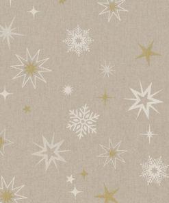 linnenlook stof Kerst 007 Kerststof met sterren printstof ecoratiestof Kerststoffen kopen 1.104530.1875.065
