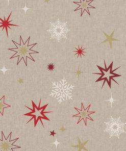 linnenlook stof Kerst 008 Kerststof met sterren printstof ecoratiestof Kerststoffen kopen 1.104530.1876.325