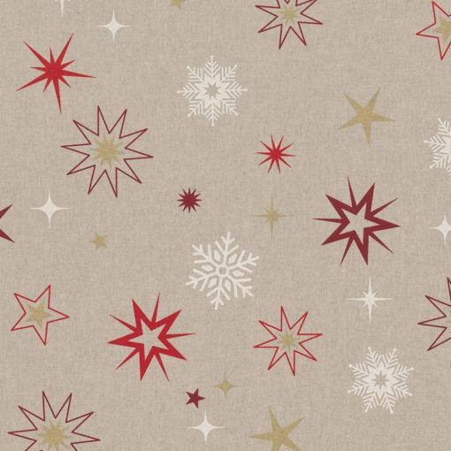 linnenlook stof Kerst 008 Kerststof met sterren printstof ecoratiestof 1.104530.1876.325