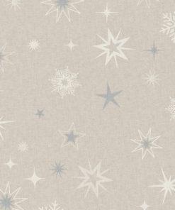 linnenlook stof Kerst 009 Kerststof met sterren printstof ecoratiestof 1.104530.1877.560