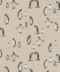 linnenlook stof dieren 007 decoratiestof gordijnstof meubelstof printstof pinguinstof, 1.104530.1878.650