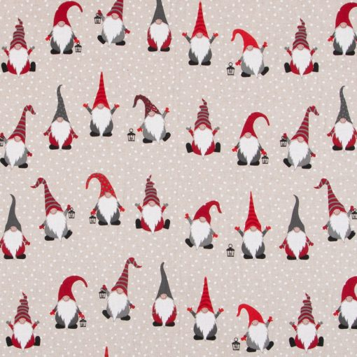 linnenlook kerststof 002 stof met kerstmannen decoratiestof 1.104530.1885.325